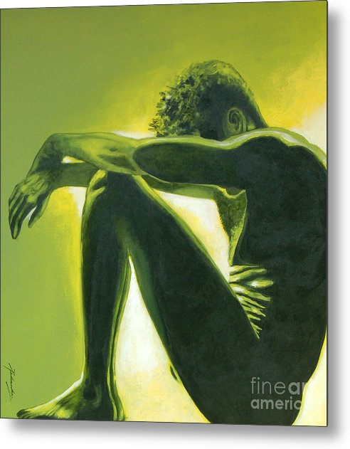 Figurative Metal Print featuring the painting Soliloquy by Padmakar Kappagantula