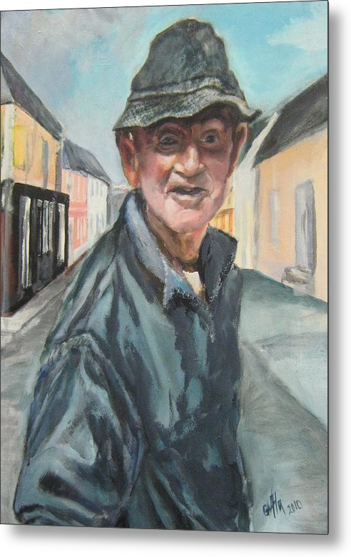 Portraiture Metal Print featuring the painting Paddy by Alina Blaszczyk