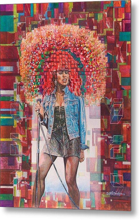 Tina Metal Print featuring the painting Tina Turner by Buena Johnson
