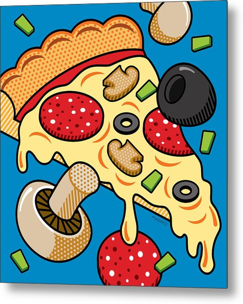 Pizza on Blue by Ron Magnes