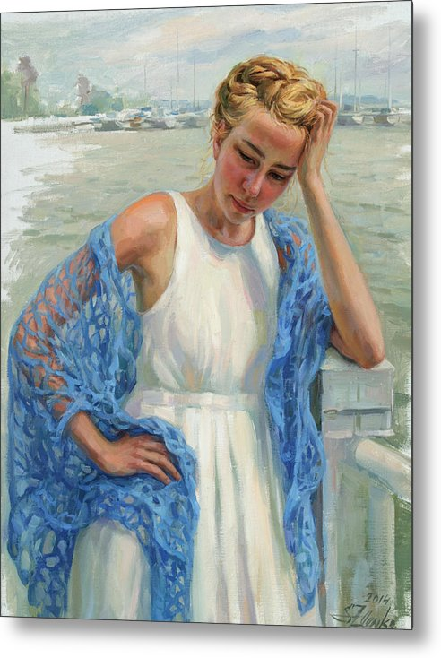 Female Images Metal Print featuring the painting Blue Shawl by Serguei Zlenko