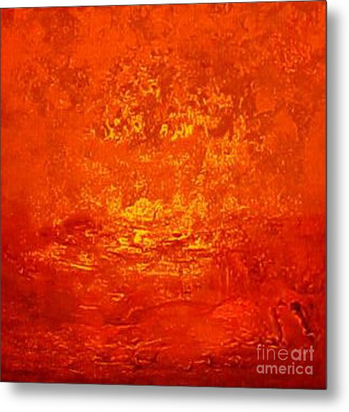 Original Red Abstract Art Painting Prints Metal Print featuring the painting One Night In Old Shanghai By Rjfxx.-original Minimalist Abstract Art Painting by RjFxx at beautifullart com