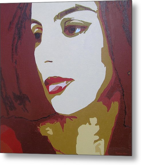 Portrait Metal Print featuring the painting Lost In Thought by Ricklene Wren