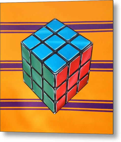 Rubiks Cube Metal Print featuring the painting Rubiks by Anthony Mezza