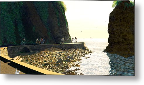 Landscape Metal Print featuring the painting On The Seawall Stanley Park by Neil Woodward