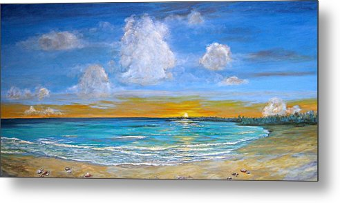 Seascape Metal Print featuring the painting Bay Of Tranquility by Jeannette Ulrich