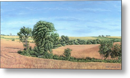 Landscape Metal Print featuring the painting I-74 Soybean Field by Craig Carlson