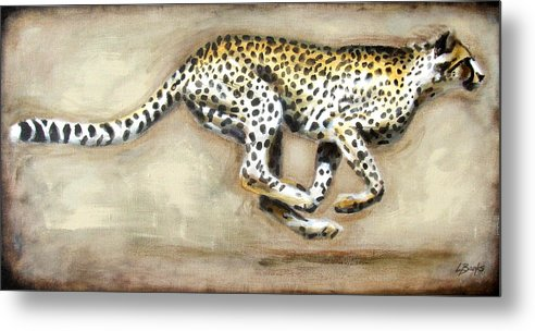 Running Cheetah Metal Print featuring the painting Chase by Leigh Banks