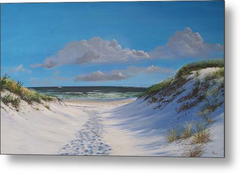 Seascape Metal Print featuring the painting Island Beach Dune Walk by Ken Ahlering