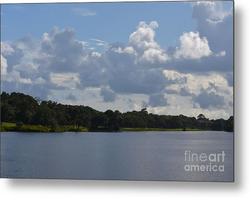 Clouds Metal Print featuring the photograph Clouds And River by John-Leon Halko