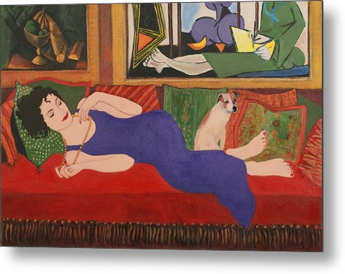 Humorous Metal Print featuring the painting Lounging With Picasso by Susan Rinehart