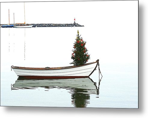 Seascape Metal Print featuring the photograph Christmas Dingy by Michael Vinyard
