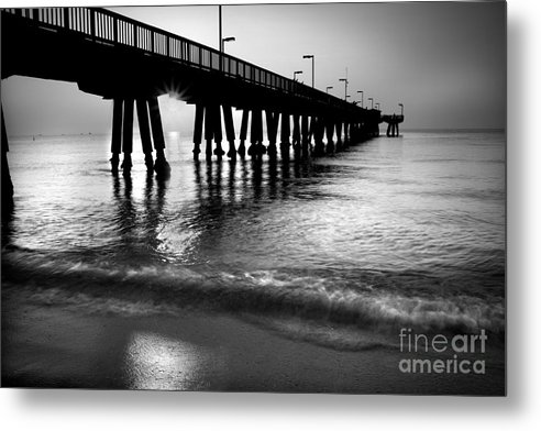 Pompano Bridge Metal Print featuring the photograph Sun Under Pompano Pier by Thomas Levine