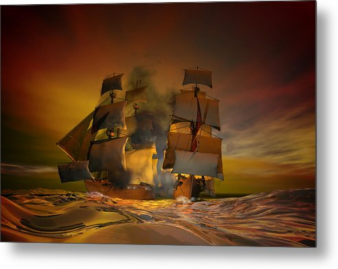 Sea Metal Print featuring the digital art Skirmish by Carol and Mike Werner