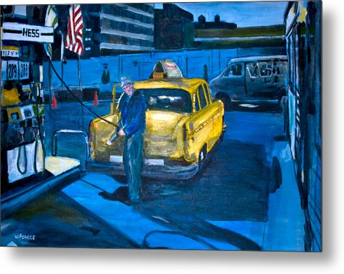 New York City Paintings Metal Print featuring the painting Taxi by Wayne Pearce