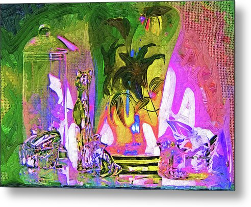Abstract Metal Print featuring the photograph Table Works by Judith B Adams