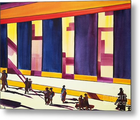 Figures Metal Print featuring the painting Morning Commute Cle by JoAnn DePolo