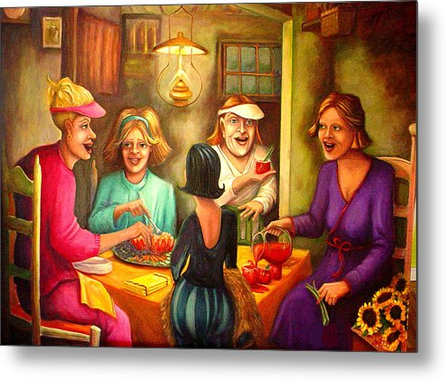 Women Metal Print featuring the painting Tomato Eaters by Joetta Currie