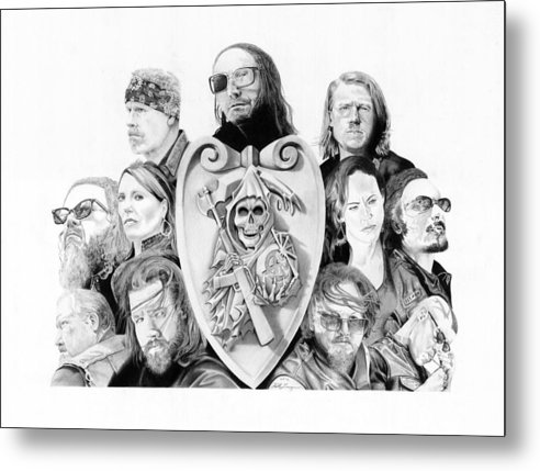 Sons Of Anarchy Metal Print featuring the drawing The Reaper Crew by Keith Larocque