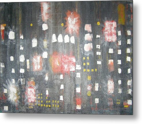 Abstract Metal Print featuring the painting Nyc In The Rain by Don Phillips