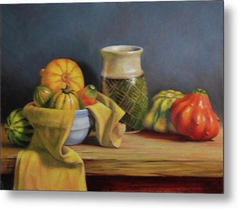 Ceramic Metal Print featuring the painting Pure Gold by Dan Petrov