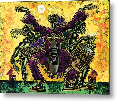 Figurative Metal Print featuring the painting To The Beat Of The Drum by Larry Poncho Brown