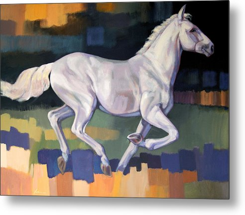 Horse Metal Print featuring the painting White Horse2 by Farhan Abouassali