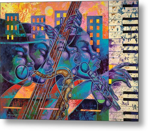 Figurative Metal Print featuring the painting Street Songs by Larry Poncho Brown