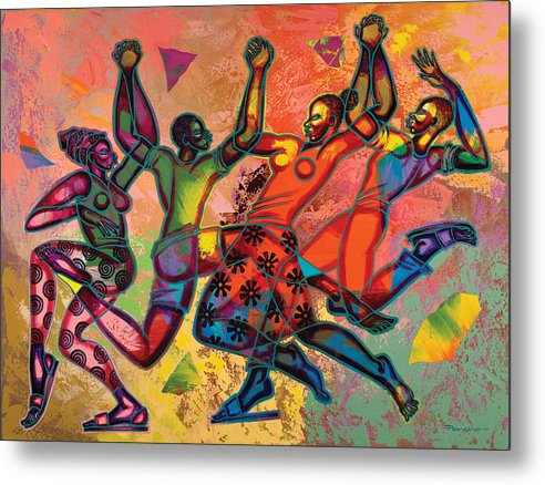 Figurative Metal Print featuring the painting Celebrate Freedom by Larry Poncho Brown