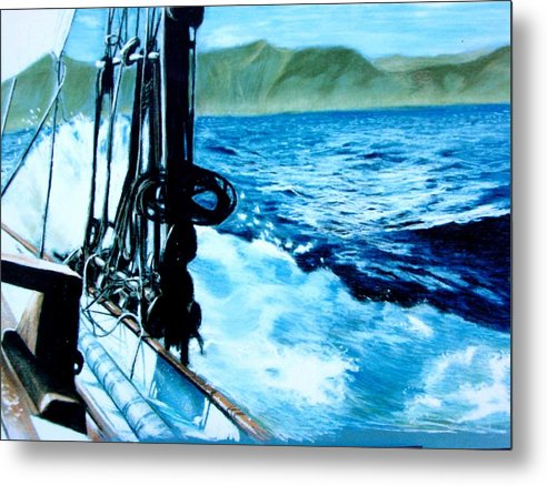 Seascape Metal Print featuring the painting Off Maui by Paul Miller