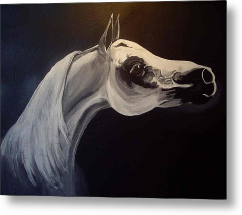 Horse Metal Print featuring the painting Proud Arabian Stallion by Glenda Smith