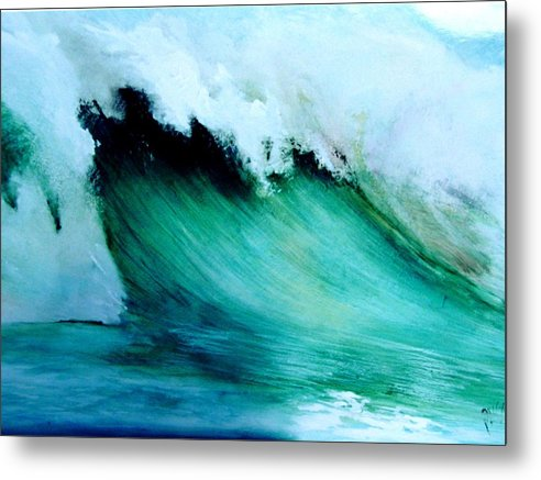 Surf Metal Print featuring the painting Slaughterhouse Beach Maui by Paul Miller