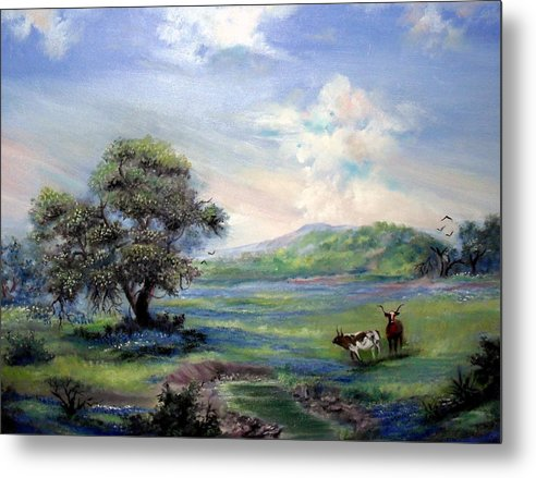 Landscape Metal Print featuring the painting Blue Respite by Judith Allison