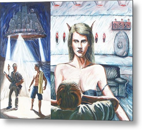 Visitors Metal Print featuring the painting They Came For Vacation by Ryan Howell