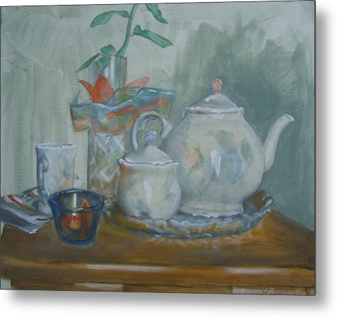 Still Life Metal Print featuring the painting Peaceful Morning by Howard Stroman