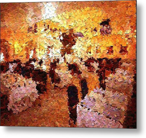 Abstract Metal Print featuring the painting Shoppers In The Gallery by Don Phillips