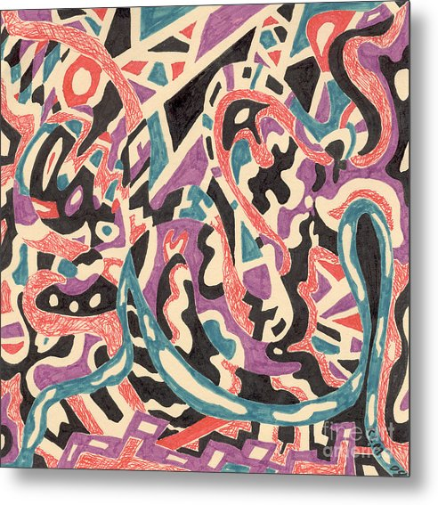 Wild Tribal Abstract Drawing Original Red Cream Black Teal Blue Purple Pattern Movement Rlmdesignes Metal Print featuring the drawing Wild by Rebekah McLeod