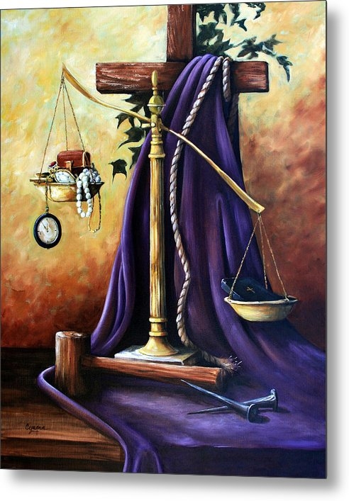 Oil Painting Metal Print featuring the painting The Purple Robe by Cynara Shelton