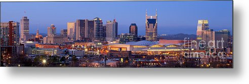 Nashville Metal Print featuring the photograph Nashville Skyline At Dusk Panorama Color by Jon Holiday