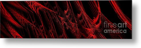Abstract Metal Print featuring the digital art Rhapsody In Red H - Panorama - Abstract - Fractal Art by Andee Design