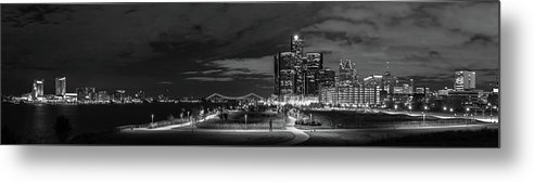 Detroit Metal Print featuring the photograph Detroit River Walk Panorama by Michael Tucker