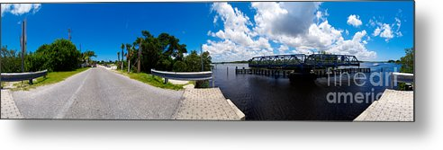 Casey Key Metal Print featuring the photograph Casey Key Swing Bridge Open For Boats by Rolf Bertram