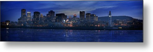 Light Metal Print featuring the photograph Panoramic Of Skyline At Dusk, Montreal by Roderick Chen