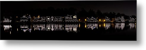 boathouse Row Metal Print featuring the photograph Boathouse Row Panorama - Philadelphia by Brendan Reals