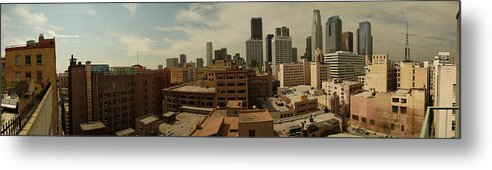 Downtown Los Angeles La La La Land Metal Print featuring the photograph Downtown Los Angeles Panorama by Kareem Farooq