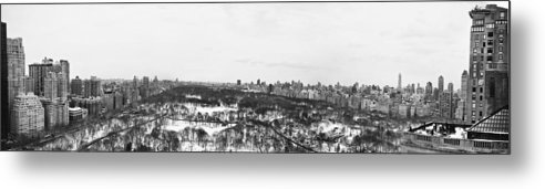 New York Metal Print featuring the photograph Nyc Panaroma Bw by Ariane Moshayedi