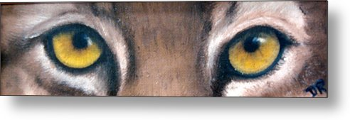 Bobcat Eyes Metal Print featuring the painting Whos Watching Who Bobcat by Darlene Green