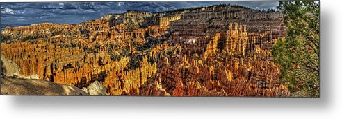 Bryce Canyon Metal Print featuring the photograph Bryce Glow Panorama by Fred Hahn