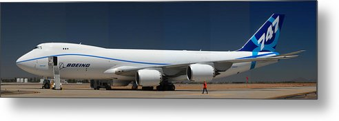 Airplane Metal Print featuring the photograph Boeing 747-8 N50217 At Phoenix-mesa Gateway Airport by Brian Lockett