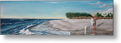 Beach Metal Print featuring the painting Bean Point by Joan Garcia